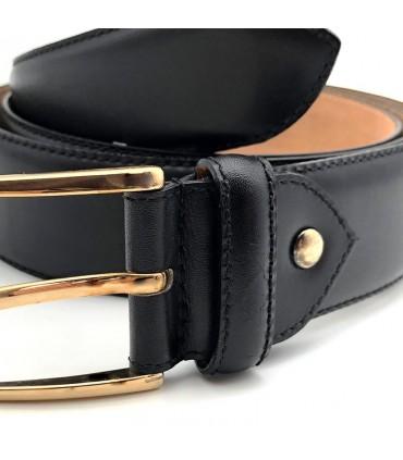 Cinturón de piel FLINT-Negro
